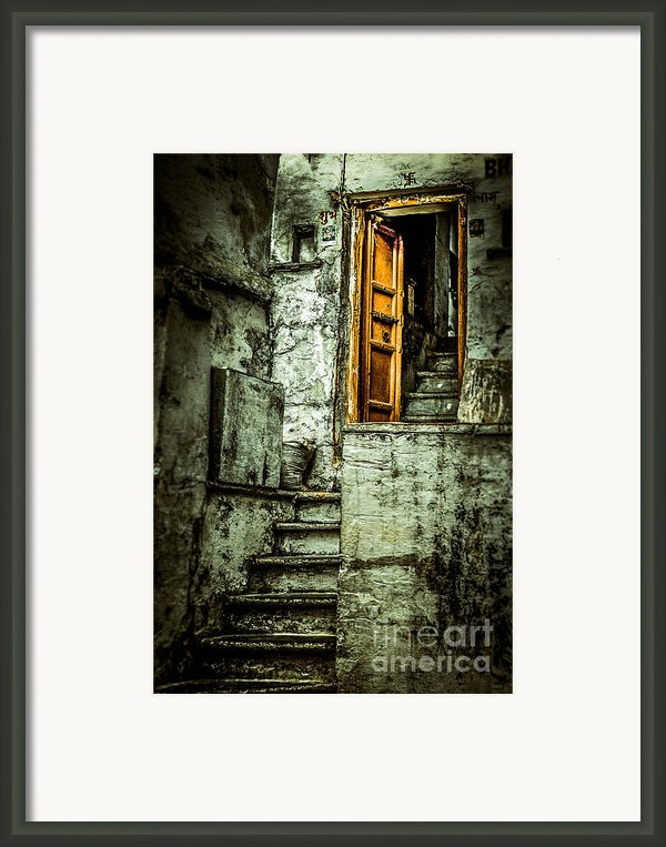 Stairs Leading To The Old Door Framed Print By Catherine Arnas