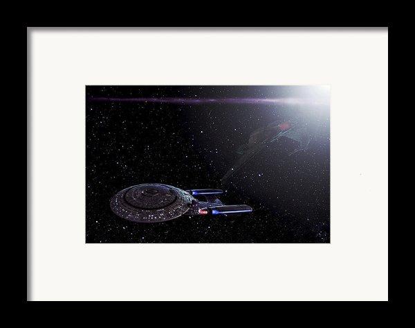 Star Trek - Ambush - Klingon Bird Of Prey - Uss Enterprise D Framed Print By Jason Politte