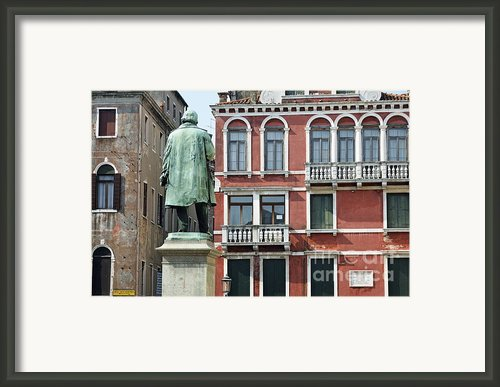 Statue And Building Facade Framed Print By Sami Sarkis