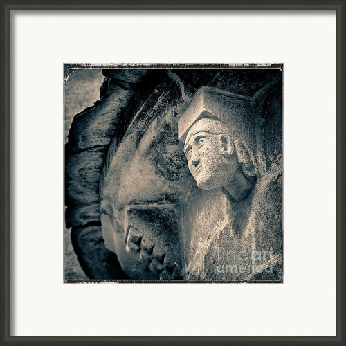 Statue On A Romanesque Church In Auvergne Framed Print By Bernard Jaubert