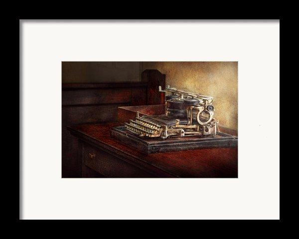 Steampunk - A Crusty Old Typewriter Framed Print By Mike Savad