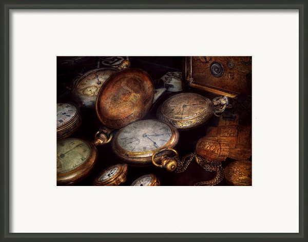 Steampunk - Clock - Time Worn Framed Print By Mike Savad