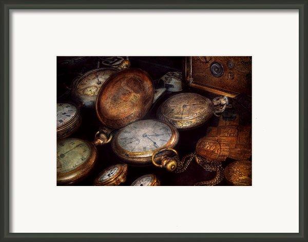 Steampunk - Clock - Time Worn Framed Print By Mike Savad