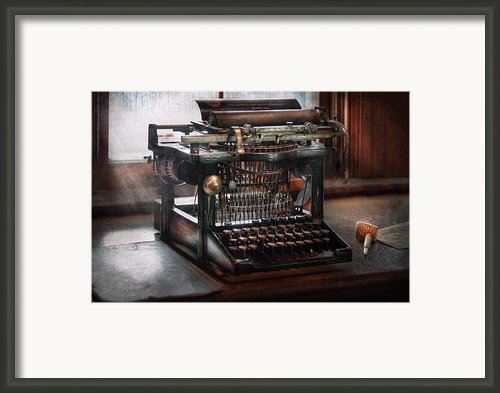 Steampunk - Typewriter - A Really Old Typewriter  Framed Print By Mike Savad