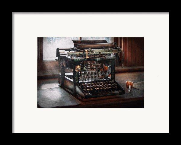 Steampunk - Typewriter - A Really Old Typewriter  Framed Print By Mike Savad