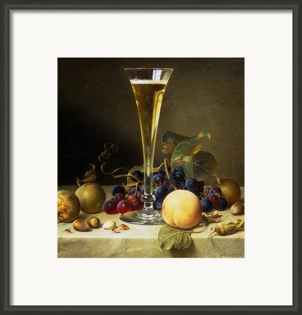 Still Life With A Glass Of Champagne Framed Print By Johann Wilhelm Preyer