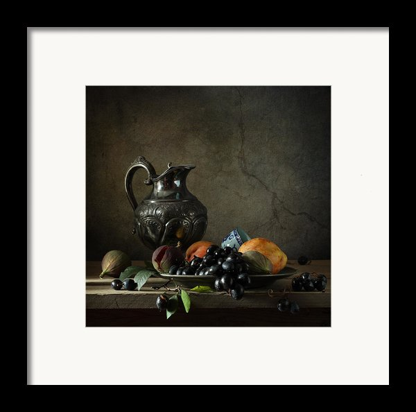 Still Life With A Jug And Fruit Framed Print By Diana Amelina