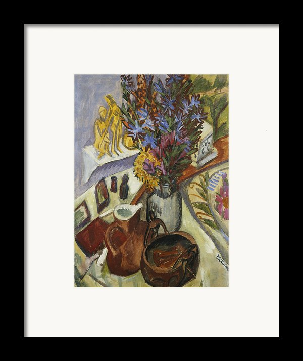 Still Life With Jug And African Bowl Framed Print By Ernst Ludwig Kirchner