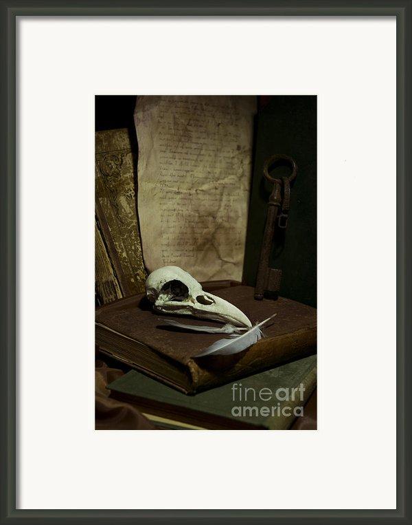 Still Life With Old Books Rusty Key Bird Skull And Feathers Framed Print By Jaroslaw Blaminsky