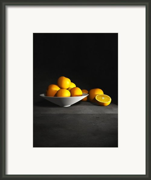 Still Life With Oranges Vertical Framed Print By Cynthia Decker