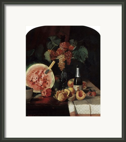 Still Life With Watermelon Framed Print By William Merritt Chase