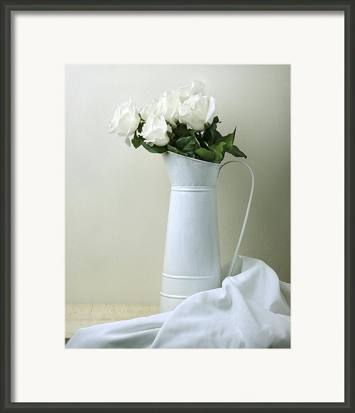 Still Life With White Roses Framed Print By Krasimir Tolev