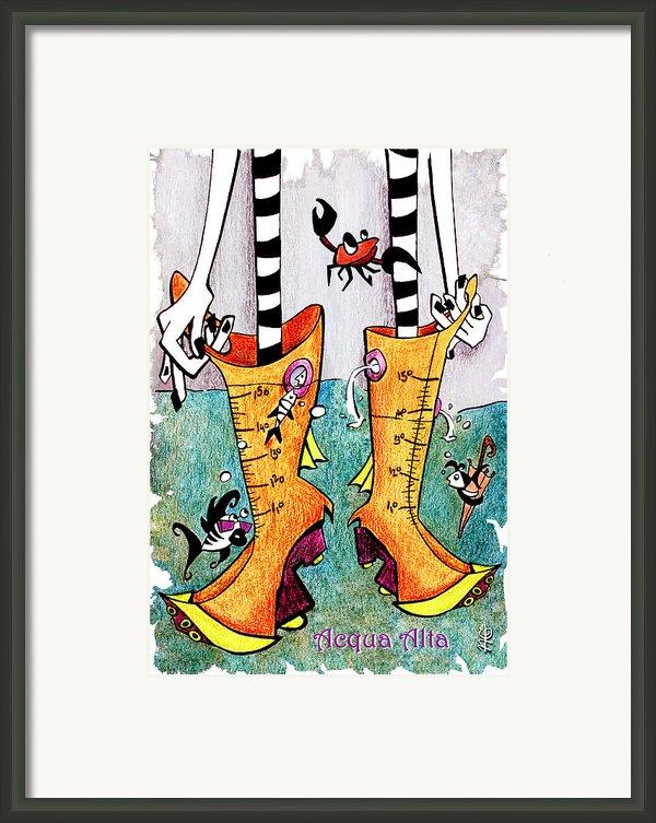 Stivali Acqua Alta - Children Book Illustration - Venezia Framed Print By Arte Venezia