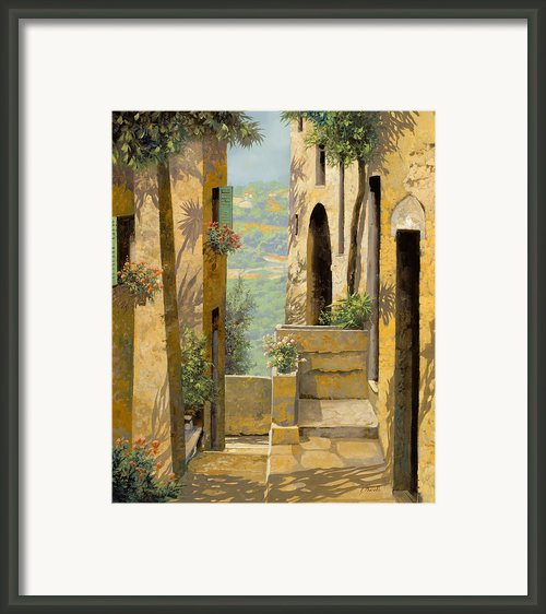Stradina A St Paul De Vence Framed Print By Guido Borelli