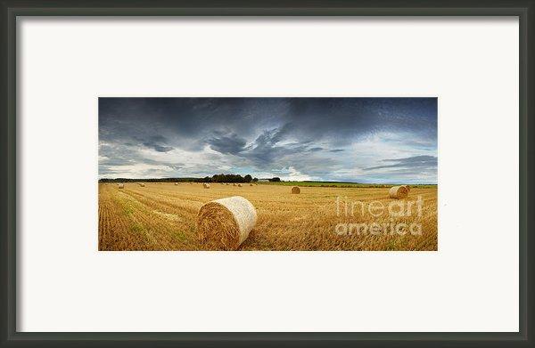 Straw Bales Pano Framed Print By Jane Rix