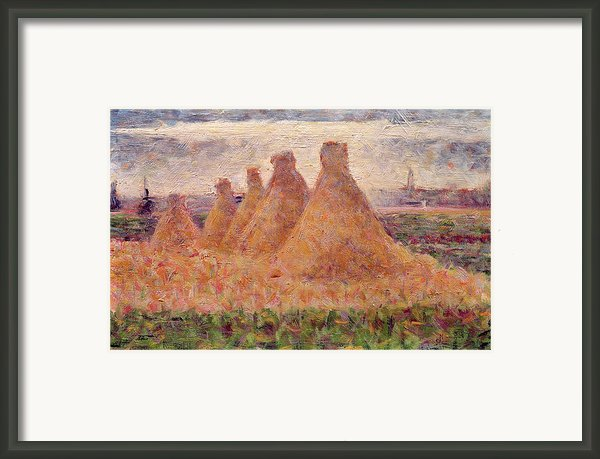 Straw Stacks Framed Print By Georges Pierre Seurat