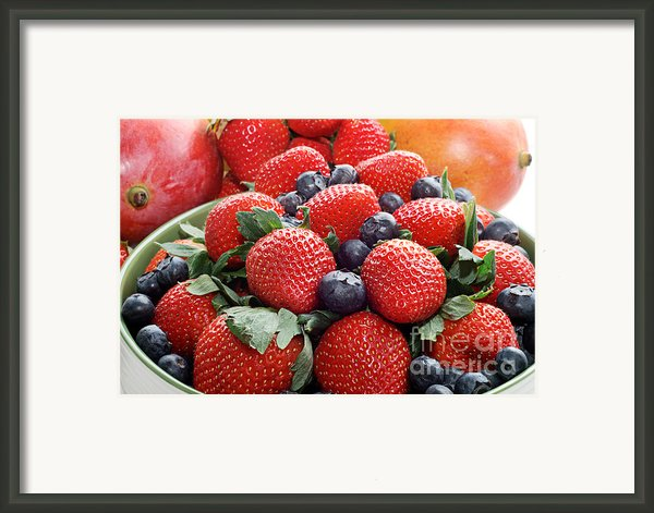 Strawberries Blueberries Mangoes - Fruit - Heart Health Framed Print By Andee Photography
