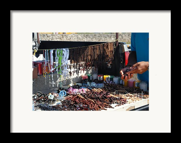 Street Vendor Selling Rosaries Framed Print By Amy Cicconi