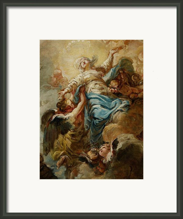 Study For The Assumption Of The Virgin Framed Print By Jean Baptiste Deshays De Colleville