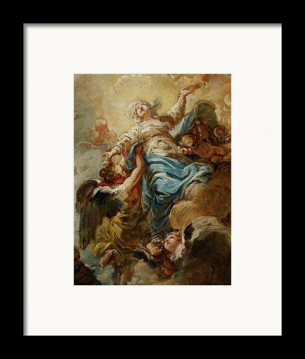 Study For The Assumption Of The Virgin Framed Print By Jean Baptiste Deshays De Colleville