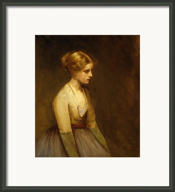 Study Of A Fair Haired Beauty  Framed Print By Jean Jacques Henner