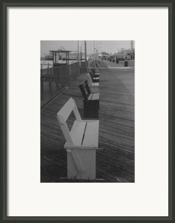 Summer Benches Seaside Heights Nj Bw Framed Print By Joann Renner