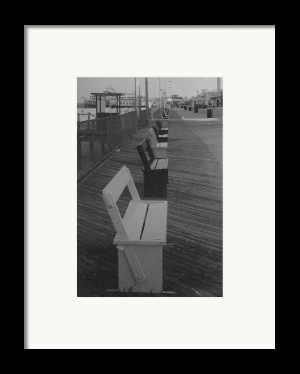 Summer Benches Seaside Heights Nj Bw Framed Print By Joann Renner