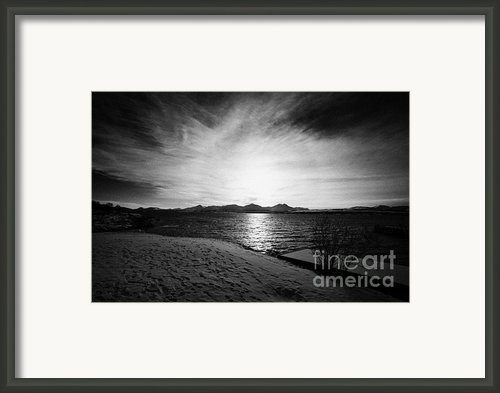 Sun Setting With Halo Over Snow Covered Telegrafbukta Beach Tromso Troms Norway Europe Framed Print By Joe Fox