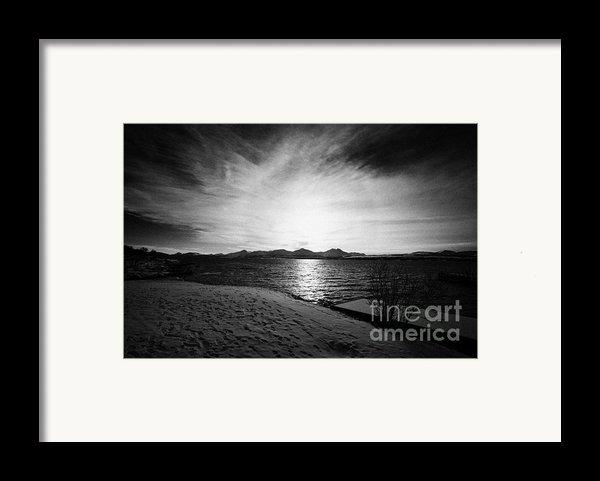 Sun Setting With Halo Over Snow Covered Telegrafbukta Beach Tromso Troms Norway Europe Framed Print By Joe Fox