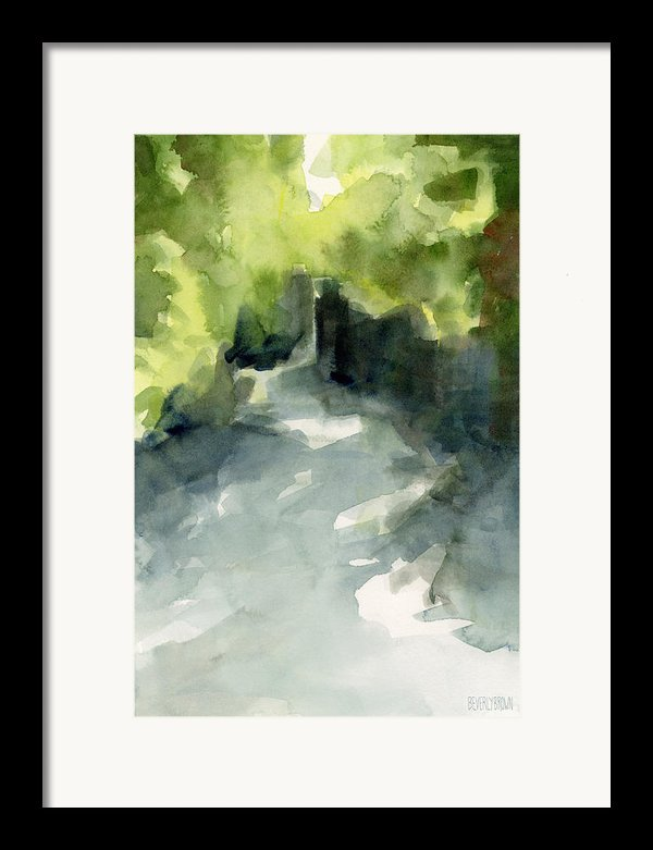 Sunlight And Foliage Conservatory Garden Central Park Watercolor Painting Framed Print By Beverly Brown Prints