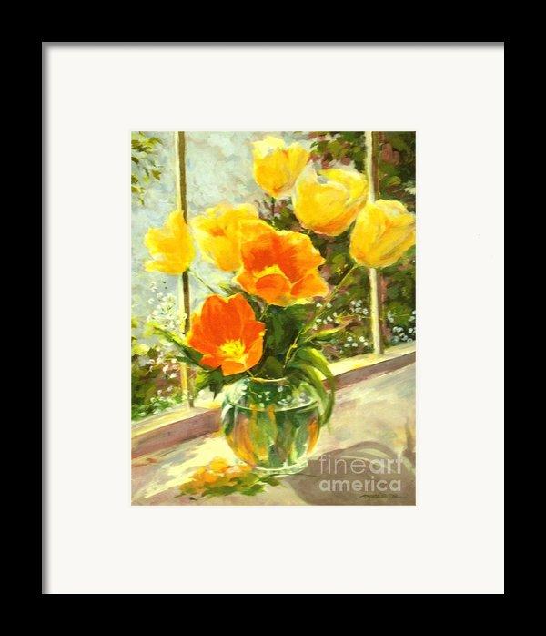 Sunlit Tulips Framed Print By Madeleine Holzberg