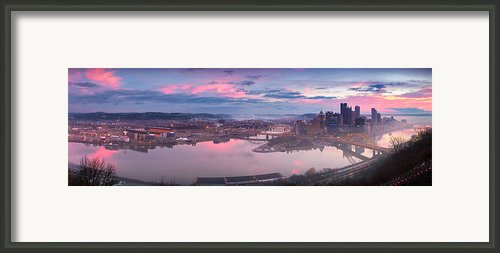 Sunrise In Pittsburgh Pano  Framed Print By Emmanuel Panagiotakis