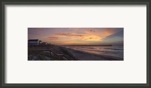 Sunrise On Topsail Island Panoramic Framed Print By Mike Mcglothlen