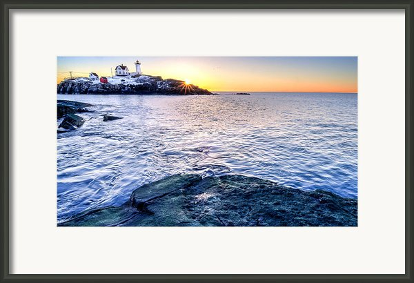 Sunrise Starburst Over Nubble Lighthouse  Framed Print By Thomas Schoeller