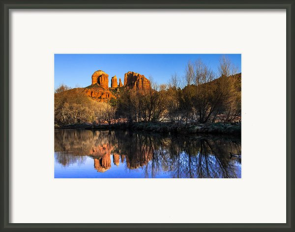 Sunset At Red Rocks Crossing In Sedona Az Framed Print By Teri Virbickis