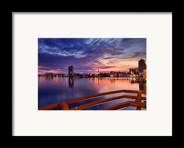 Sunset Balcony Of The West Palm Beach Skyline Framed Print By Debra And Dave Vanderlaan