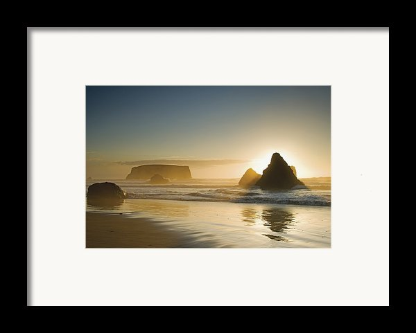 Sunset Behind Offshore Rocks Bandon Framed Print By Philippe Widling