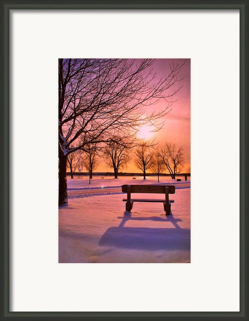 Sunset Bench Framed Print By Emily Stauring