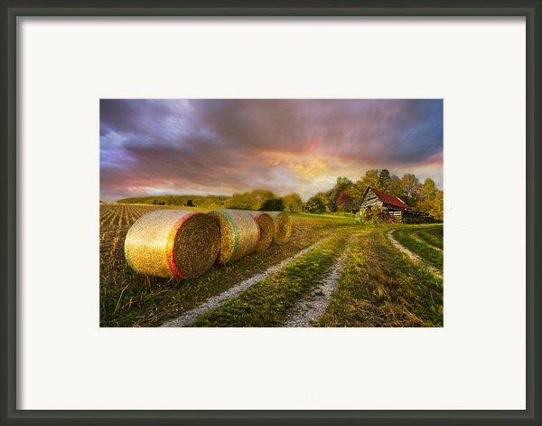 Sunset Farm Framed Print By Debra And Dave Vanderlaan