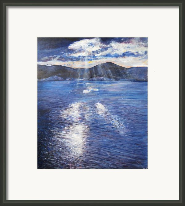 Sunset Near Myrtos Beach Kefalonia Framed Print By Robina Osbourne