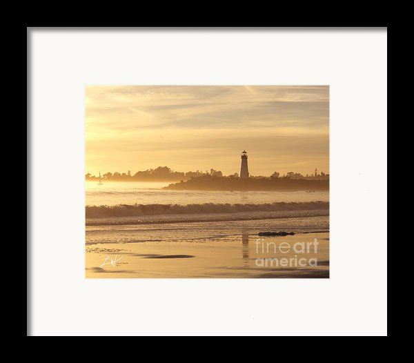 Sunset On The Lighthouse In Santa Cruz Harbor Framed Print By Artist And Photographer Laura Wrede