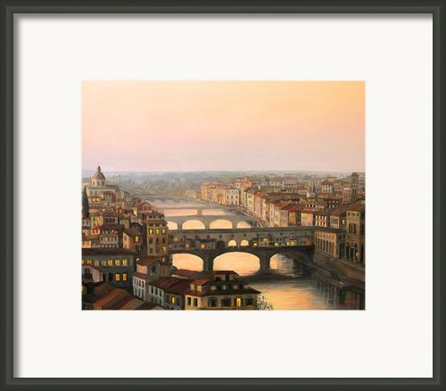Sunset Over Ponte Vecchio In Florence Framed Print By Kiril Stanchev