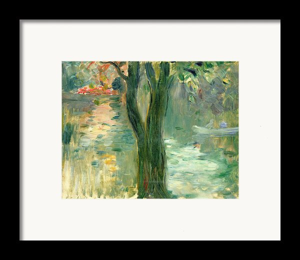 Sunset Over The Lake Bois De Boulogne Framed Print By Berthe Morisot