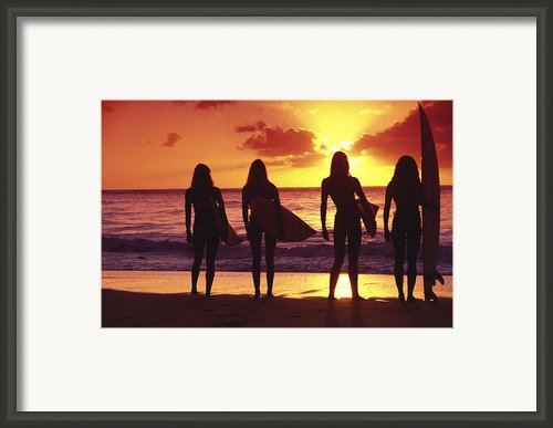 Surfer Girl Silhouettes Framed Print By Sean Davey