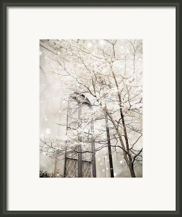 Surreal Dreamy Winter White Church Trees Framed Print By Kathy Fornal