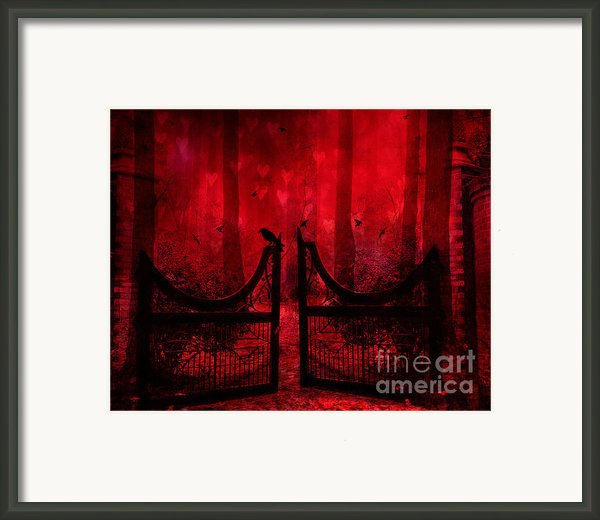 Surreal Fantasy Gothic Red Forest Crow On Gate Framed Print By Kathy Fornal