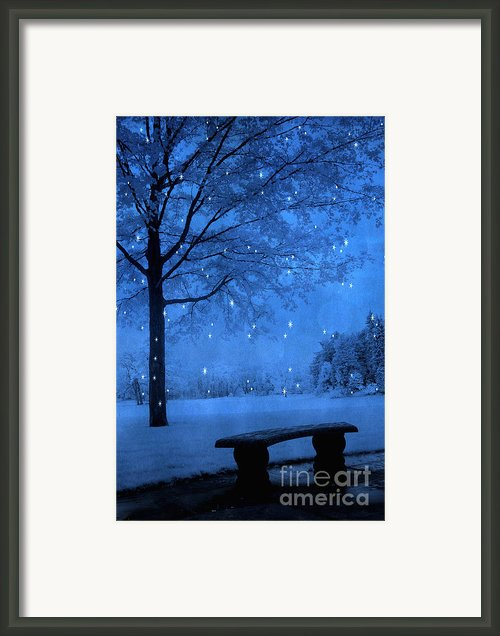 Surreal Fantasy Winter Blue Tree Snow Landscape Framed Print By Kathy Fornal