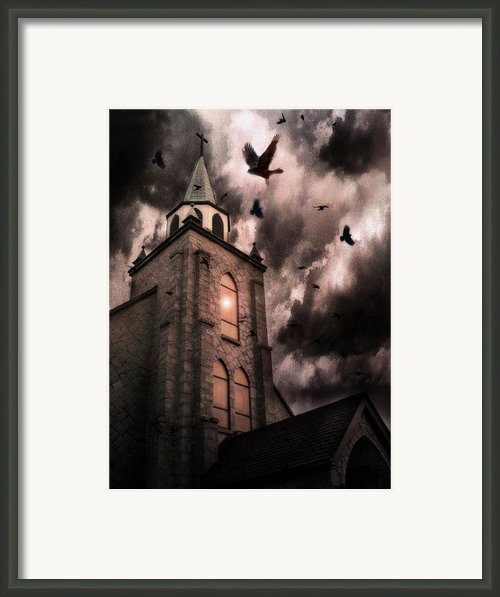 Surreal Gothic Church Storm And Ravens Framed Print By Kathy Fornal