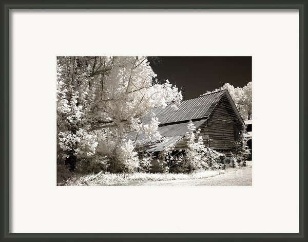Surreal Infrared Sepia Barn Farm Landscape Framed Print By Kathy Fornal