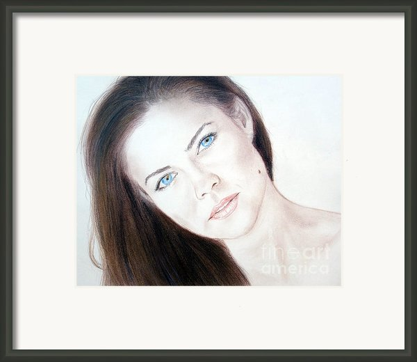 Susan Ward Blue Eyed Beauty With A Mole Framed Print By Jim Fitzpatrick